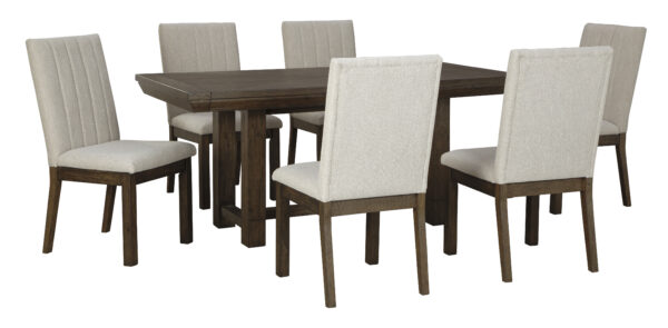 Τραπεζαρία με ορθογώνιο επεκτεινόμενο τραπέζι Dellbeck, της Ashley, σε σκούρο καφέ χρώμα και καρέκλες με ταπετσαρία εμπρός και πίσω στην πλάτη.