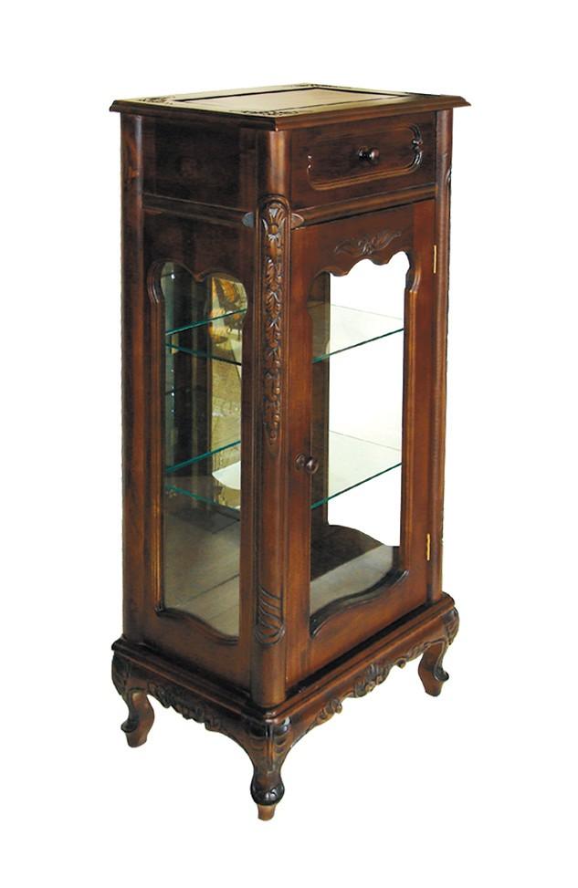 Βιτρίνα Μίνι με συρτάρι, καθρέπτη στο πίσω μέρος και 2 γυάλινα ράφια