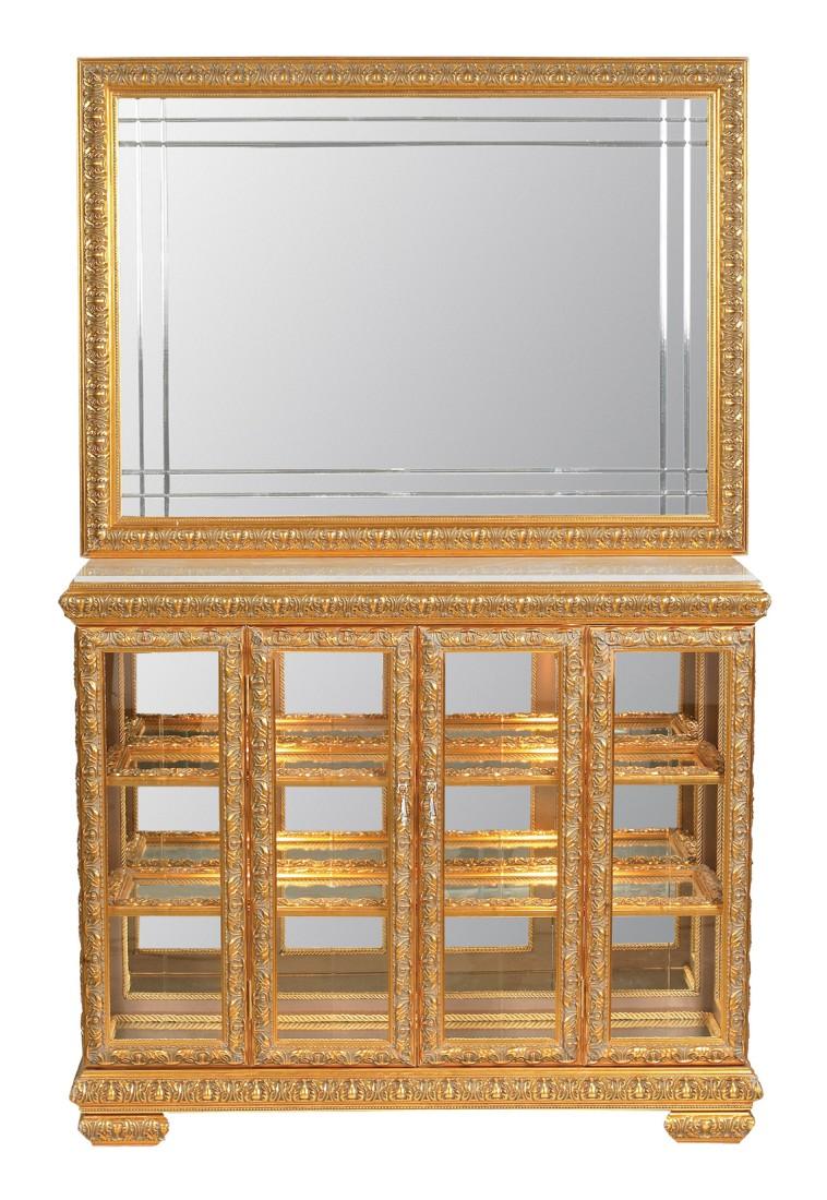 Σκαλιστός, χρυσός, φωτιζόμενος μπουφές με καθρέπτη.