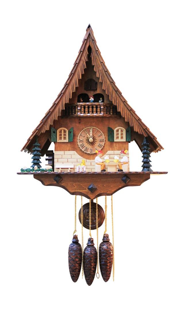 Ρολόι εκκρεμές, ξύλινο, με κούκο και 3 διακοσμητικά βαρύδια.