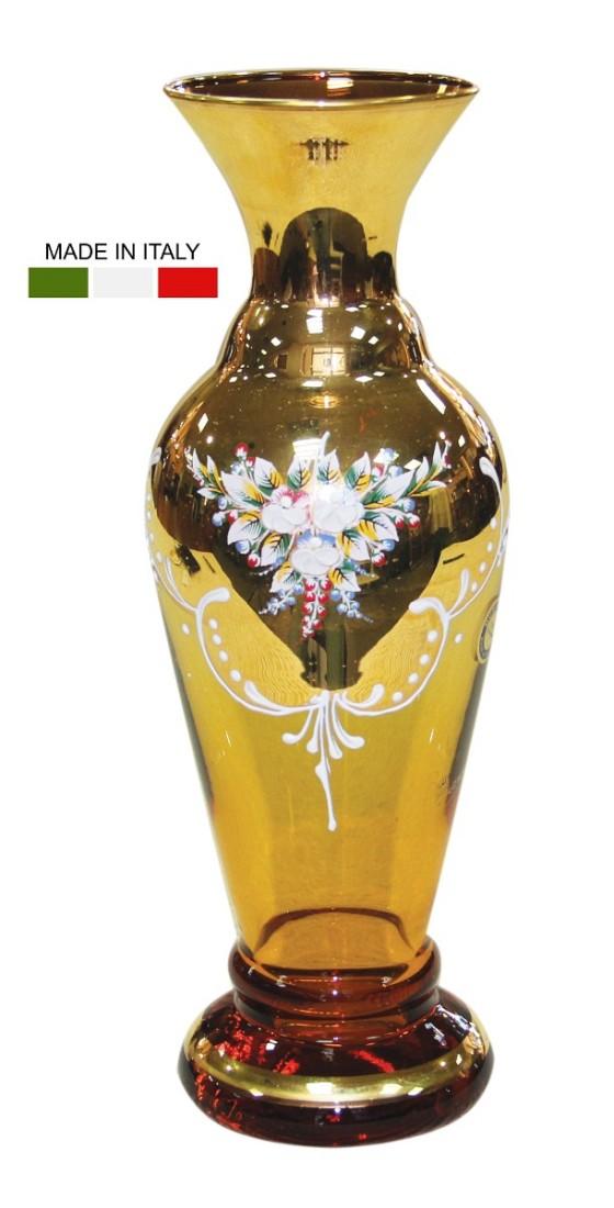 Ανθοδοχείο Μουράνο, σε οβάλ σχήμα. Διακοσμημένο με λουλούδια, σε κεχριμπαρένιο και χρυσό φόντο.