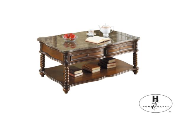 Κλασικό τραπεζάκι σαλονιού Lockwood, της Home Elegance®, με τέσσερα συρτάρια και ξύλινη επιφάνεια, στο κάτω μέρος.