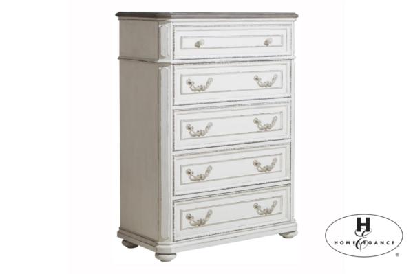 Συρταριέρα Willowick της Home Elegance®, σε χρώμα λευκό με πατίνα πολυκαιρισμένου επίπλου και επιφάνεια σε τόνο σκούρας κερασιάς.