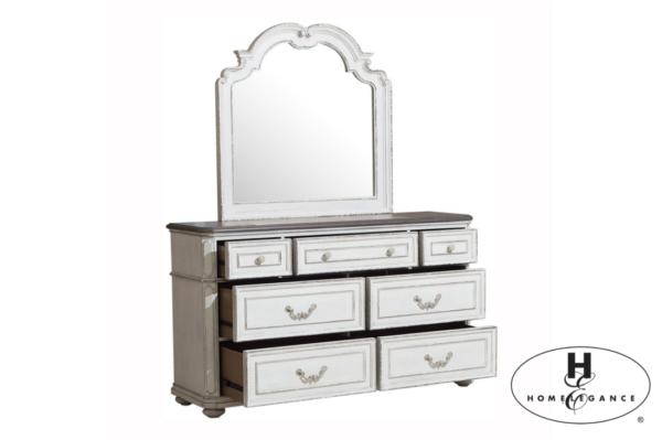 Τουαλέτα με καθρέπτη Willowick της Home Elegance®, σε χρώμα λευκό με πατίνα πολυκαιρισμένου επίπλου και επτά συρτάρια.