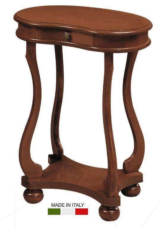 Βοηθητικό ξύλινο τραπεζάκι, με ένα μικρό συρτάρι στο επάνω μέρος του και ένα ανοικτό ράφι, στο κάτω μέρος του.
