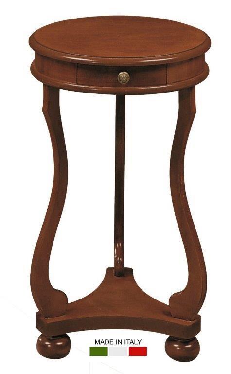 Στρογγυλό βοηθητικό ξύλινο τραπεζάκι με μικρό συρτάρι στο επάνω μέρος του και τριγωνικό ράφι, στο κάτω μέρος του.