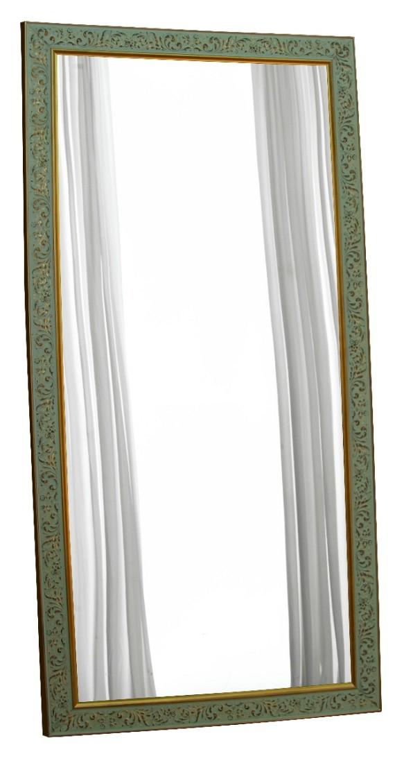 Μεγάλος ιταλικός ορθογώνιος καθρέπτης, με φαρδιά κορνίζα και «σβησμένα» σχέδια σε χρυσαφί απόχρωση.
