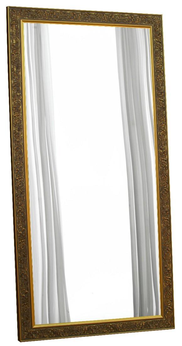 Μεγάλος ιταλικός ορθογώνιος καθρέπτης, με φαρδιά κορνίζα, σε χρώμα χρυσού και φλοράλ σχέδια.