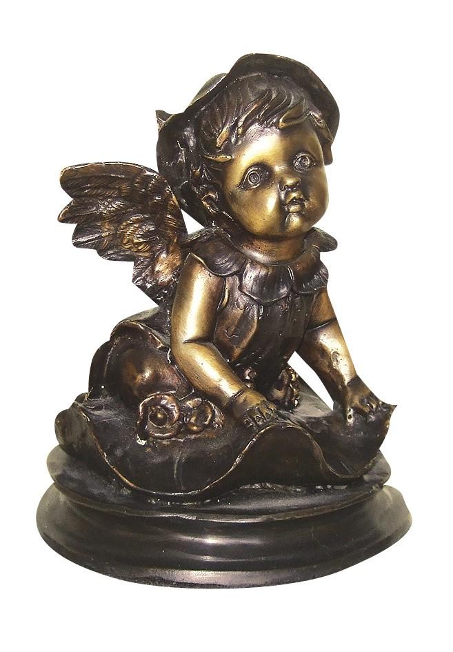 Μπρούτζινο άγαλμα, αγγελάκι πάνω σε νούφαρο.