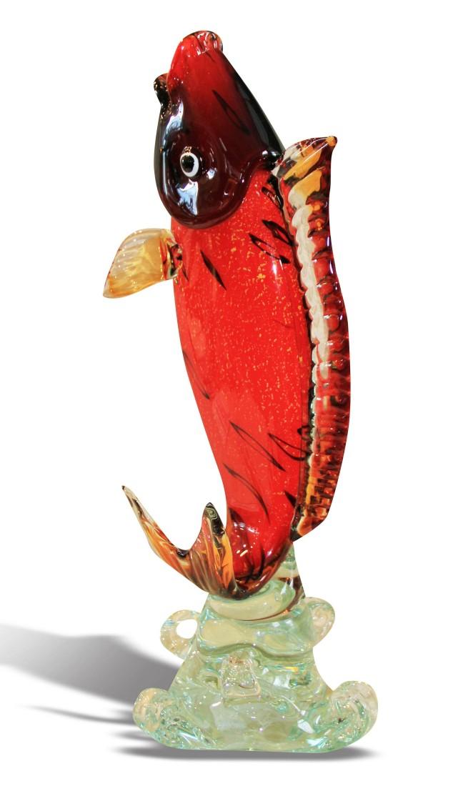 Μοναδικό διακοσμητικό Ψάρι, τεχνοτροποίας Μουράνο από φυσητο γυαλί, χειροποίητο.