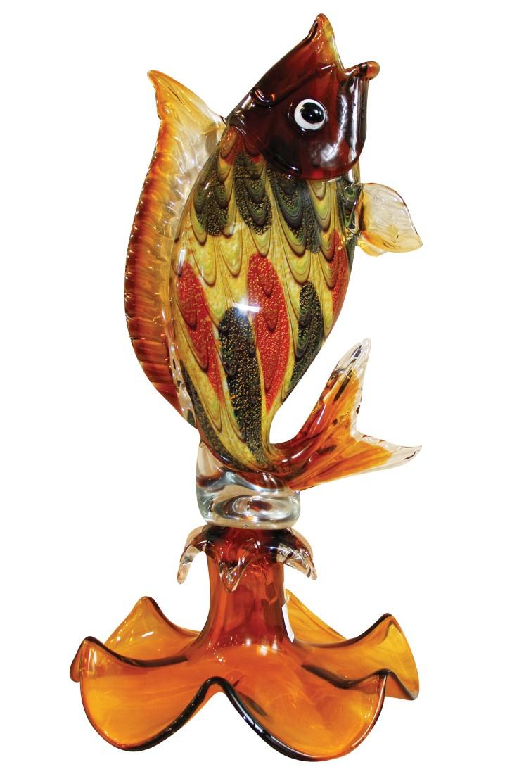 Μοναδικό διακοσμητικό Ψάρι, τεχνοτροποίας Μουράνο από φυσητο γυαλί, χειροποίητο