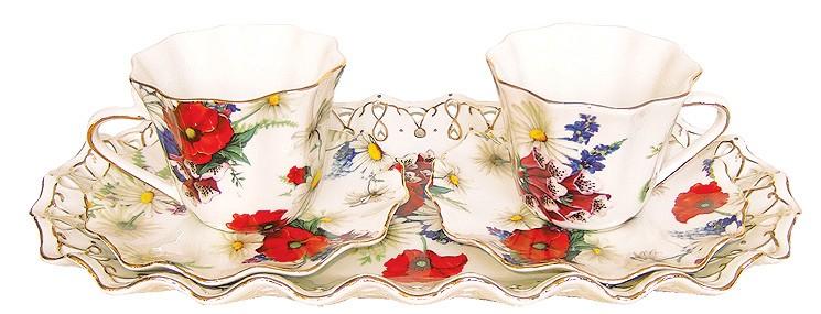 Σετ Τσαγιού Τετ-Α-Τετ 5 τεμαχίων, με Floral διακόσμηση.