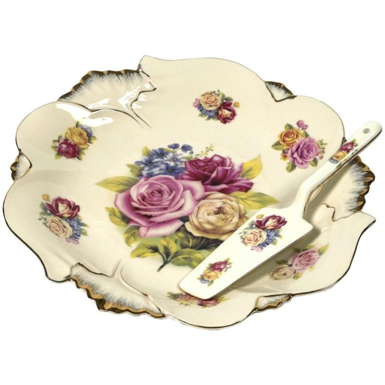 Υπέροχο, κλασσικό, Σετ Σερβιρίσματος  2 τεμαχίων  με  παραστάσεις από τριαντάφυλλα