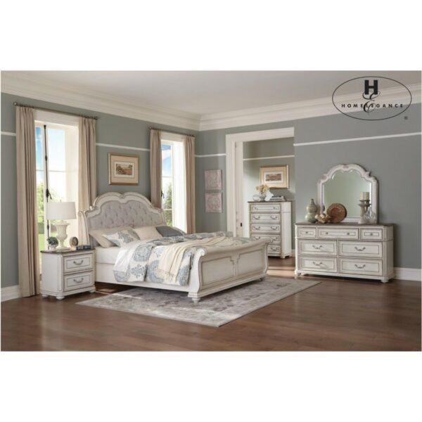 Ξύλινο κρεβάτι Willowick της Home Elegance, σε χρώμα λευκό με πατίνα πολυκαιρισμένου επίπλου.