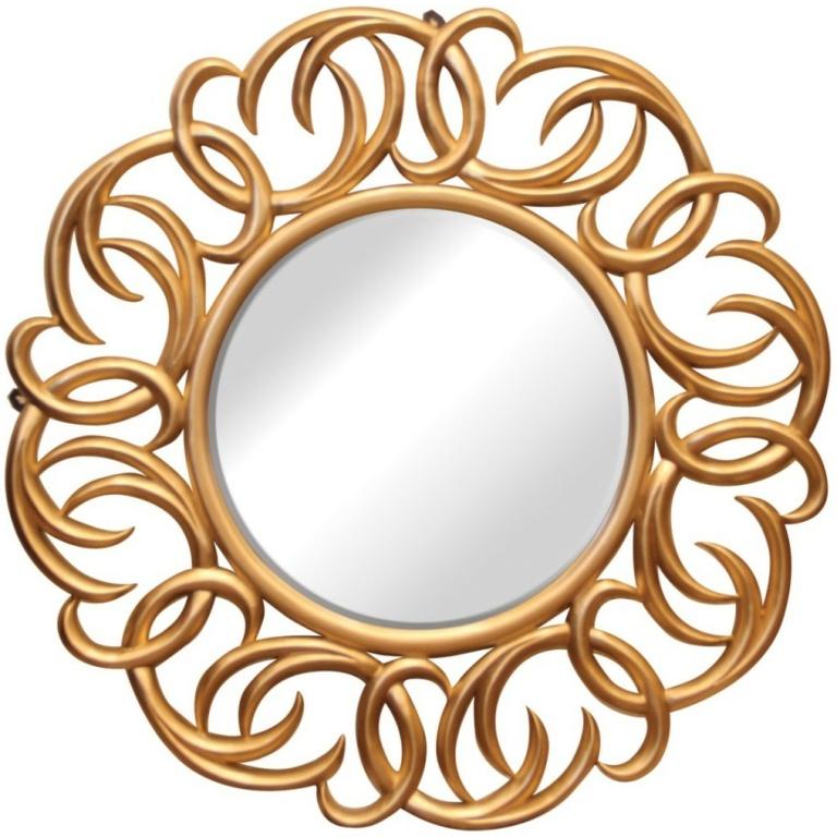 Καθρέπτης επιτοίχιος στρογγυλός, με χρυσή κορνίζα σε ελεύθερο σχέδιο, που θα διακοσμήσει το σπίτι σας.