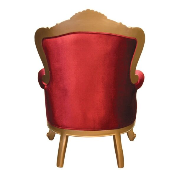 Πολυθρόνα μπερζέρα, με ξύλινο σκαλιστό χρυσαφί σκελετό, καπιτονέ πλάτη και αποσπώμενο μαξιλάρι καθίσματος, σε κόκκινο βελούδο.