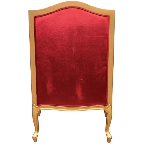 Πολυθρόνα μπερζέρα, με χρυσαφί σκαλιστό σκελετό, καπιτονέ υψηλή πλάτη και αφράτο μαξιλάρι καθίσματος, σε κόκκινο χρώμα.