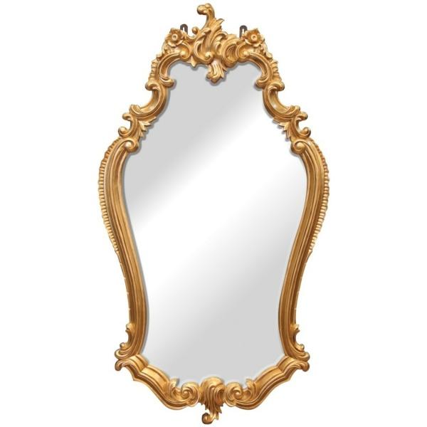 Μακρόστενος, όρθιος, επιτοίχιος καθρέπτης, που φαρδαίνει λίγο προς τη μέση. Διαθέτει σκαλιστή κορνίζα, σε χρυσαφί απόχρωση.