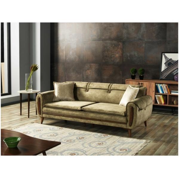 Τριθέσιος καναπές-κρεβάτι,, σε απλή φόρμα, με εμφανή πόδια και ταπετσαρία σε λαδί χρώμα.