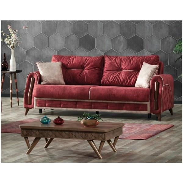 Τριθέσιος καναπές-κρεβάτι της σειράς OPTIMAL. Έχει δύο μαξιλάρια καθίσματος και δύο πλάτης, σε μπορντό χρώμα.
