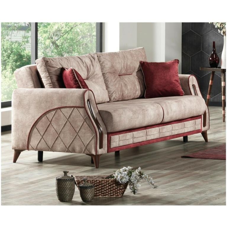 Τριθέσιος καναπές-κρεβάτι της σειράς OPTIMAL. Έχει δύο μαξιλάρια καθίσματος και δύο πλάτης, σε πολύ ανοικτό κόκκινο χρώμα.
