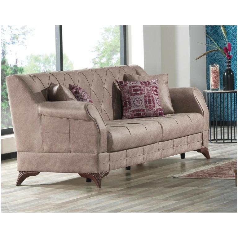 Τριθέσιος καναπές-κρεβάτι, της σειράς PANAMA, με ταπετσαρία, με υφή δέρματος, σε ένα σκούρο μπεζ χρώμα. Διαθέτει καπιτονέ πλάτη.