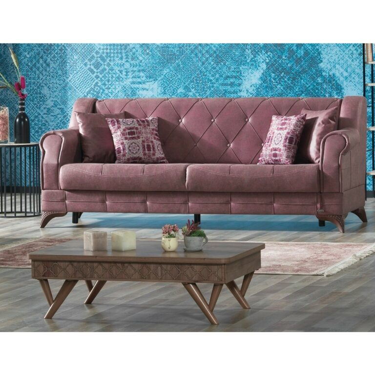Τριθέσιος καναπές-κρεβάτι, της σειράς PANAMA, με ταπετσαρία, με υφή δέρματος, σε σκούρο ροδί χρώμα. Διαθέτει καπιτονέ πλάτη.