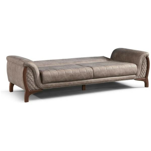 Καναπές – κρεββάτι τριθέσιος ROMA, σε απλό σχέδιο, ωραίο μπεζ χρώμα και αναπαυτικά μαξιλάρια, στο κάθισμα και στην πλάτη.