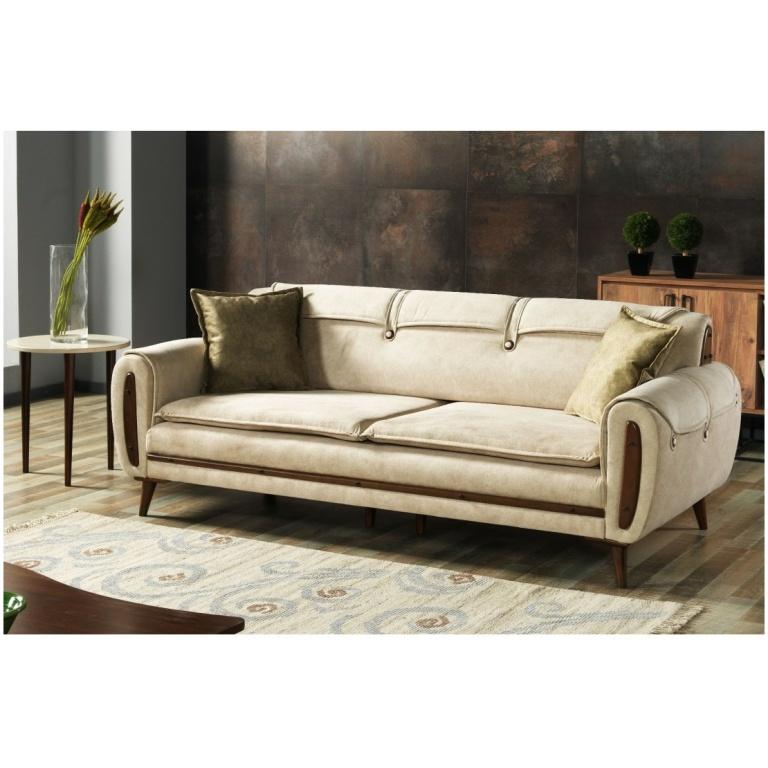 Τριθέσιος καναπές-κρεβάτι,, σε απλή φόρμα, με εμφανή πόδια και ταπετσαρία σε μπεζ χρώμα.
