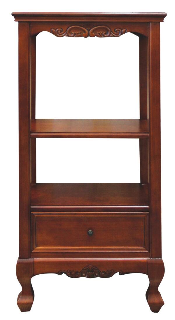 Ξύλινη βιβλιοθήκη - ανθοστήλη ή βιτρίνα. Σε κλασική γραμμή, με τέσσερα εμφανή πόδια, διακριτικό σκάλισμα και ένα συρτάρι.