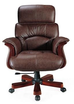 Διευθυντική πολυθρόνα επενδεδυμένη με υψηλής ποιότητας καφέ ταπετσαρία που στηρίζεται σε πεντάκτινη ξύλινη βάση και έχει μηχανισμό ρύθμισης του ύψους.