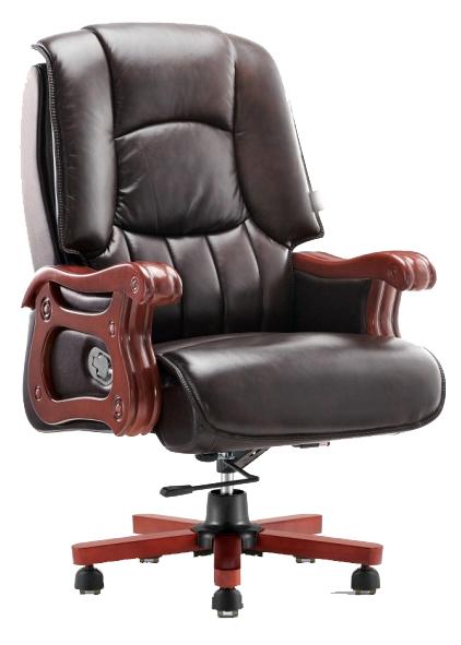 Διευθυντική πολυθρόνα, με ξύλινο σκελετό, ταπετσαρία από μαύρο τεχνόδερμα και μηχανισμό ανάκλισης και ρύθμισης του ύψους.