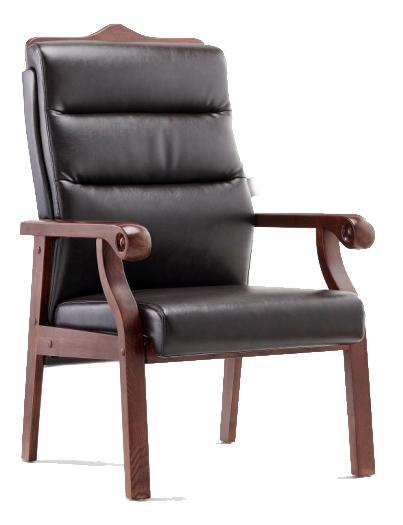 Πολυθρόνα επισκέπτη γραφείου, με ξύλινο σκελετό, μίνιμαλ σκάλισμα και αφράτη επένδυση.